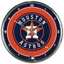 Houston Astros Round Chrome Wall Clock
