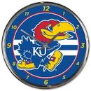 Kansas Jayhawks Round Chrome Wall Clock