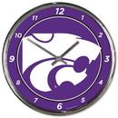 Kansas State Wildcats Round Chrome Wall Clock