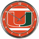 Miami Hurricanes Round Chrome Wall Clock