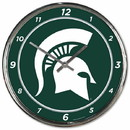 Michigan State Spartans Round Chrome Wall Clock