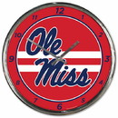 Mississippi Rebels Clock Round Wall Style Chrome Special Order