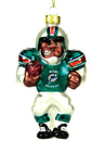 Miami Dolphins Blown Glass Football Player Ornament
