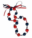Lucky Kukui Nuts Necklace - Navy/Red
