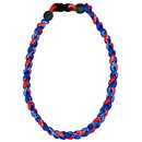 Titanium Ionic Braided Necklace - Royal Blue/Red
