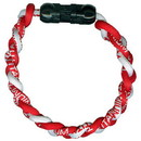 Titanium Ionic Braided Wristband - Red/White