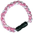 Titanium Ionic Braided Wristband - Pink/White