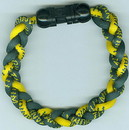 Titanium Ionic Braided Wristband - Green/Gold