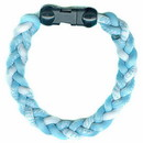 Titanium Ionic Braided Wristband - Carolina Blue/White