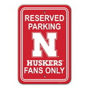 Nebraska Cornhuskers Sign 12x18 Plastic Reserved Parking Style