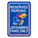 Kansas Jayhawks Sign - Plastic - Reserved Parking - 12 in x 18 in