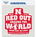 Nebraska Cornhuskers Decal 8x8 Die Cut Color Red Out
