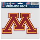 Minnesota Golden Gophers Decal 5x6 Multi Use Color