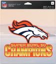 Denver Broncos Decal 8x8 Die Cut Color Super Bowl 50 Champion