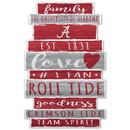 Alabama Crimson Tide Sign 11x17 Wood Established Design
