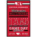 Nebraska Cornhuskers Sign 11x17 Wood Established Design