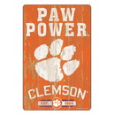 Clemson Tigers Sign 11x17 Wood Slogan Design