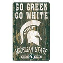 Michigan State Spartans Sign 11x17 Wood Slogan Design