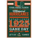 Miami Hurricanes Sign 11x17 Wood Established Design
