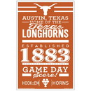 Texas Longhorns Sign 11x17 Wood Established Design