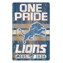 Detroit Lions Sign 11x17 Wood Slogan Design