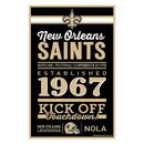 New Orleans Saints Sign 11x17 Wood Established Design