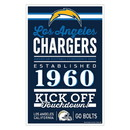 Los Angeles Chargers Sign 11x17 Wood Established Design