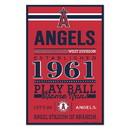 Los Angeles Angels Sign 11x17 Wood Established Design