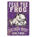 TCU Horned Frogs Sign 11x17 Wood Slogan Design