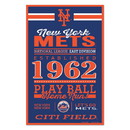 New York Mets Sign 11x17 Wood Established Design