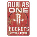 Houston Rockets Sign 11x17 Wood Slogan Design