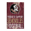 Florida State Seminoles Sign 11x17 Wood Proud to Support Design