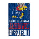 Kansas Jayhawks Sign 11x17 Wood Proud to Support Design