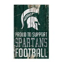 Michigan State Spartans Sign 11x17 Wood Proud to Support Design
