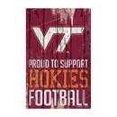 Virginia Tech Hokies Sign 11x17 Wood Proud to Support Design
