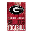 Georgia Bulldogs Sign 11x17 Wood Proud to Support Design