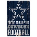 Dallas Cowboys Sign 11x17 Wood Proud to Support Design