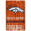 Denver Broncos Sign 11x17 Wood Proud to Support Design