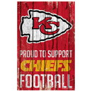 Kansas City Chiefs Sign 11x17 Wood Proud to Support Design