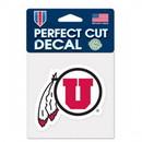 Utah Utes Decal 4x4 Perfect Cut Color
