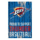 Oklahoma City Thunder Sign 11x17 Wood Proud to Support Design