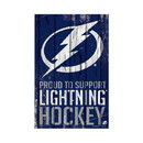 Tampa Bay Lightning Sign 11x17 Wood Proud to Support Design