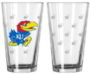 Kansas Jayhawks Satin Etch Pint Glass Set