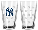 New York Yankees Satin Etch Pint Glass Set