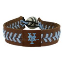 New York Mets Bracelet Team Color Baseball Brown Leather Powder Blue Thread