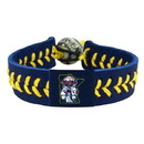 Minnesota Twins Bracelet Team Color Baseball Mini and Paul Mascot Navy Leather Yellow Thread