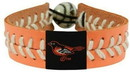 Baltimore Orioles Bracelet Team Color Baseball Peach Leather White Thread