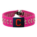 Cleveland Indians Bracelet Classic Baseball Pink C Logo Silver Thread