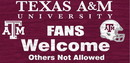 Texas A&M Aggies Wood Sign - Fans Welcome 12