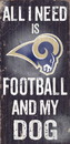 Los Angeles Rams Wood Sign - Football and Dog 6x12